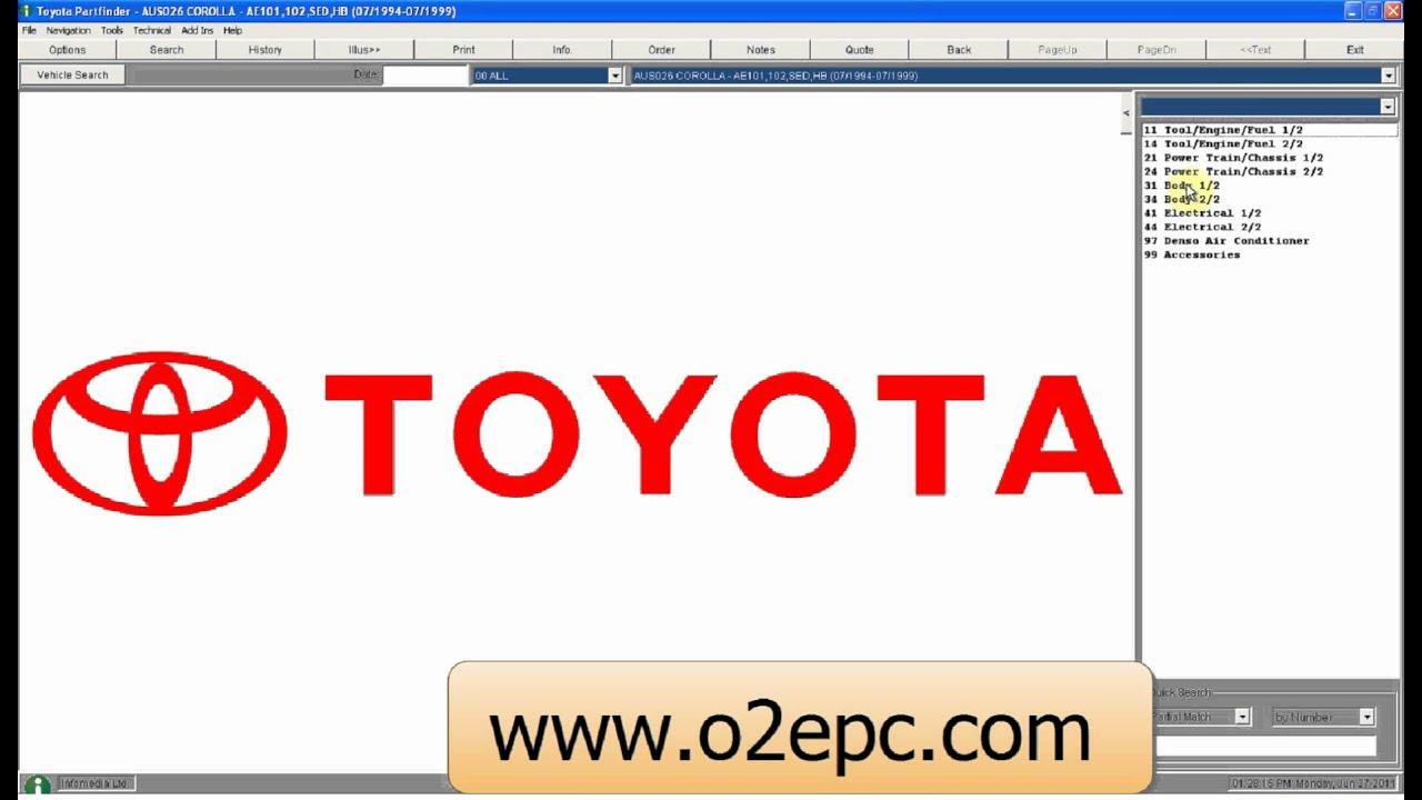 Toyota Australia Spare Parts Catalog Youtube
