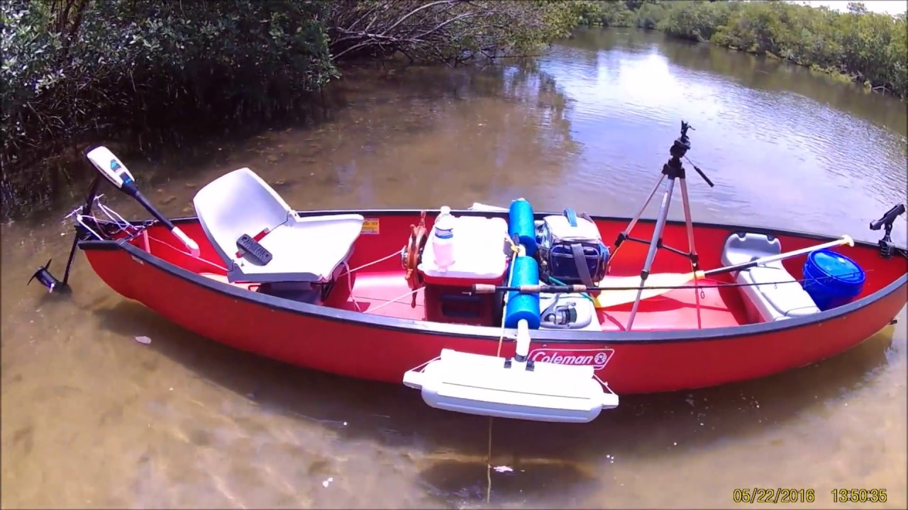 Canoe Steering Wheel System With Trolling Motor Youtube