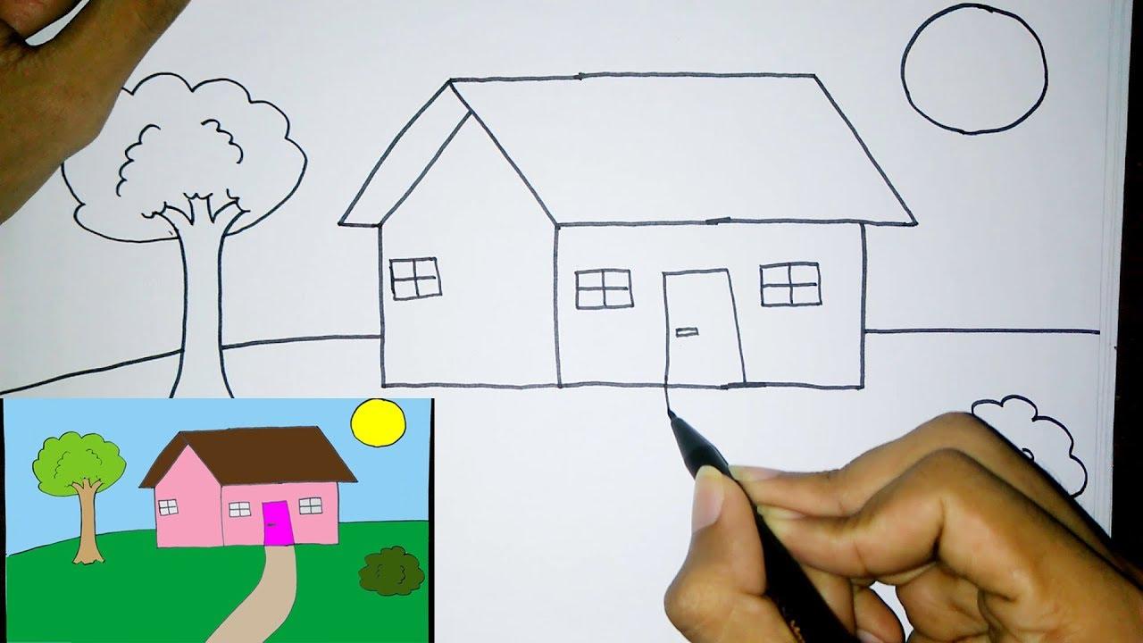 Cara Menggambar Rumah Mewah Dengan Mudah Untuk Anak Sd