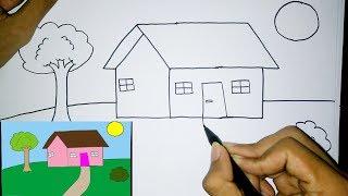 Download lagu Cara Mudah Menggambar Rumah Untuk Pemula | Drawing House for beginners