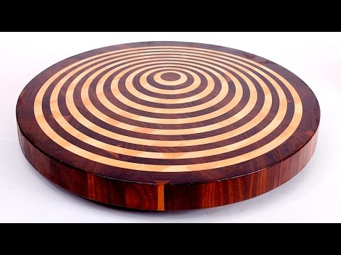 Round 3D end grain cutting board #10 - YouTube