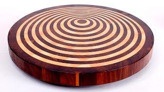Round 3D end grain cutting board #10