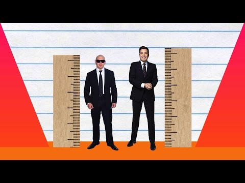 How Much Taller? - Pitbull vs Jimmy Fallon!