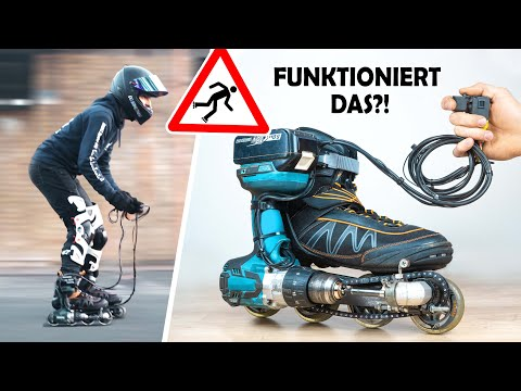 Motorized INLINE SKATES with electric drill! from YouTube · Duration:  4 minutes 54 seconds