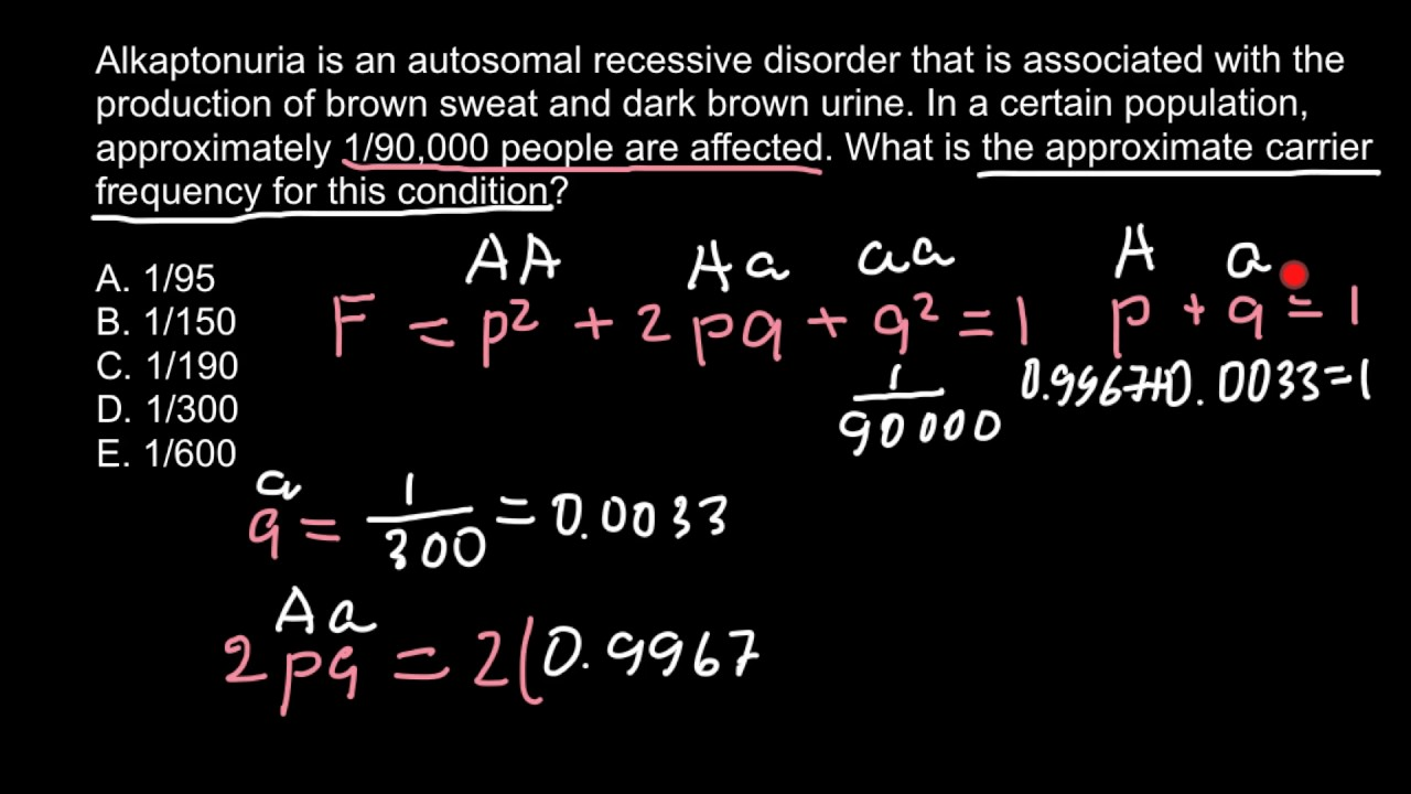 Hardy-Weinberg problem and solution - YouTube