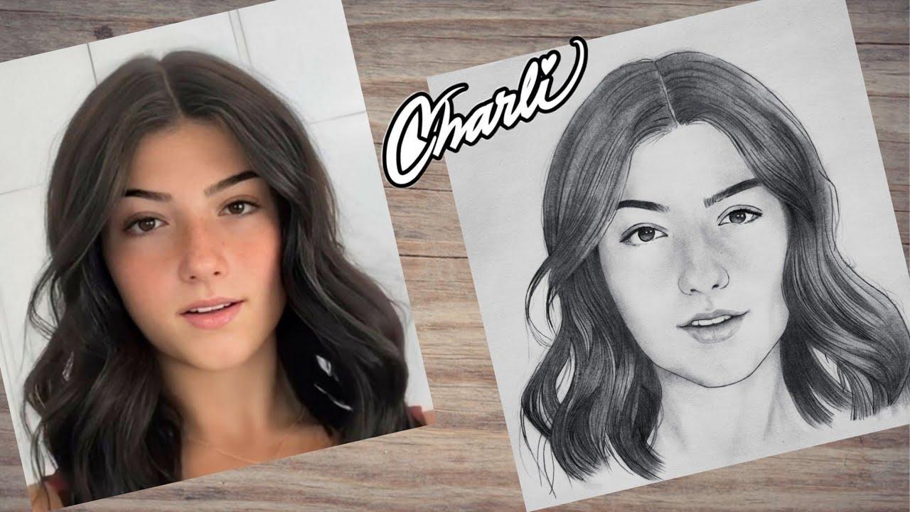 How to Draw Charli D'Amelio Tik Tok star ✨ step by step   Drawing Tutorial   YouCanDraw