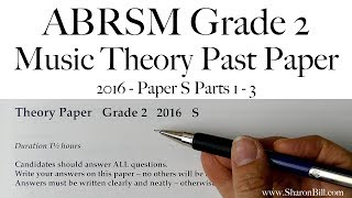 ABRSM Music Theory Grade 2 Past Paper 2016 S with Sharon Bill
