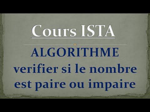 Algorithme : verifier si le nombre est pair ou impair