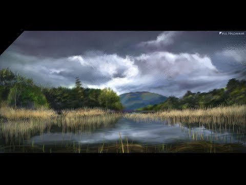 Digital Landscape Painting in Photoshop / Environment drawing [Time-lapse]