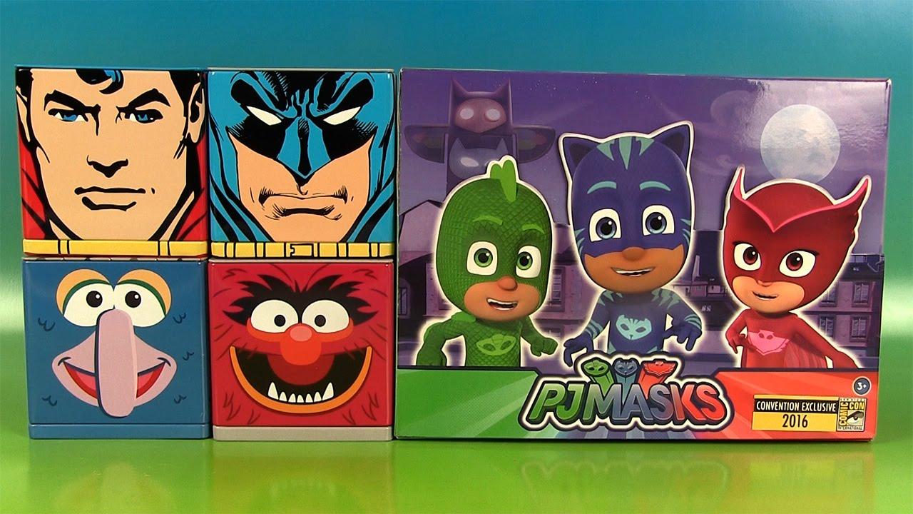 pyjamasques pj masks figurines comic con cubeez superman batman surprises youtube. Black Bedroom Furniture Sets. Home Design Ideas