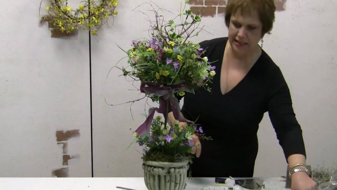 How To Make A Spring Topiary with Silk Flowers - Great For ...