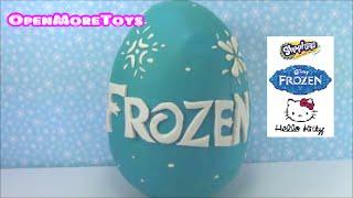 disney frozen giant surprise egg play doh with shopkins hello kitty toys