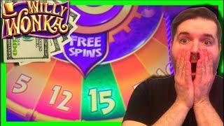 BIG WIN! Beginners LUCK IS REAL! Willy Wonka Slot Machine Bonus - Wonka Free Spins - Big Win!!!