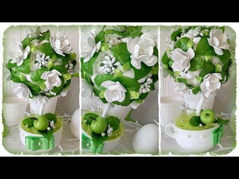 топиарий с цветами из салфеток фото
