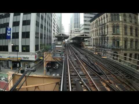 Chicago L Train Pink Line ride on the Loop