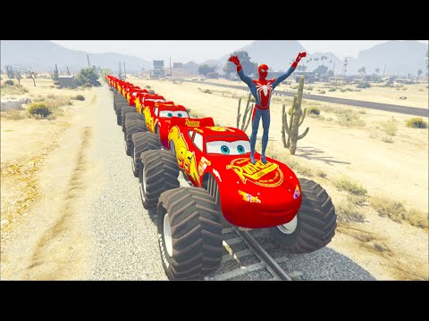 Monster McQueen Truck & Mack Truck Hauler In Trouble With Thomas Train Spiderman 1 |