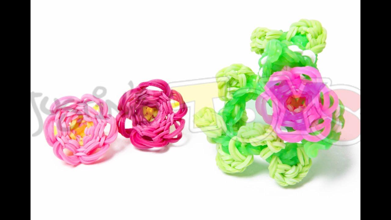 how to make a rainbow loom 3d flower bracelet part 1