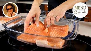 Łosoś z piekarnika - przepis jak upiec rybę aby jej nie wysuszyć. MENU Dorotki.