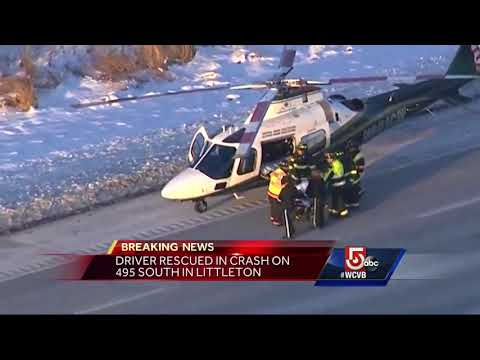 Driver rescued in crash on I-495 in Littleton - YouTube
