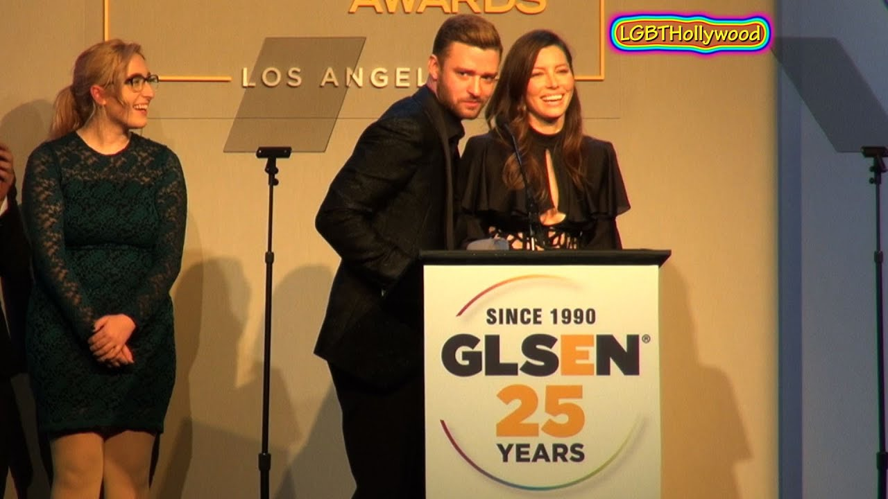 JUSTIN TIMBERLAKE & JESSICA BIEL on stage for LGBT Youth GLSEN 2015