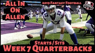 2019 Fantasy Football Advice - Week 7 Quarterbacks - Start or Sit? Every Match Up