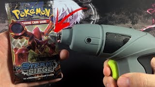 Pokemon Experiment: DRILLING THROUGH A SEALED BOOSTER PACK!