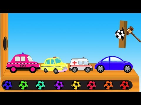 Street Vehicles Colors With Soccer Balls || Learn Colors Soccer Balls Video For Children thumbnail