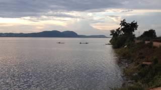 Landscape of sunset in KomPing Puoy reservoir ទេសភាពព្រះអាទិត្យរៀបលិចនៅអាងកំពីងពួយ