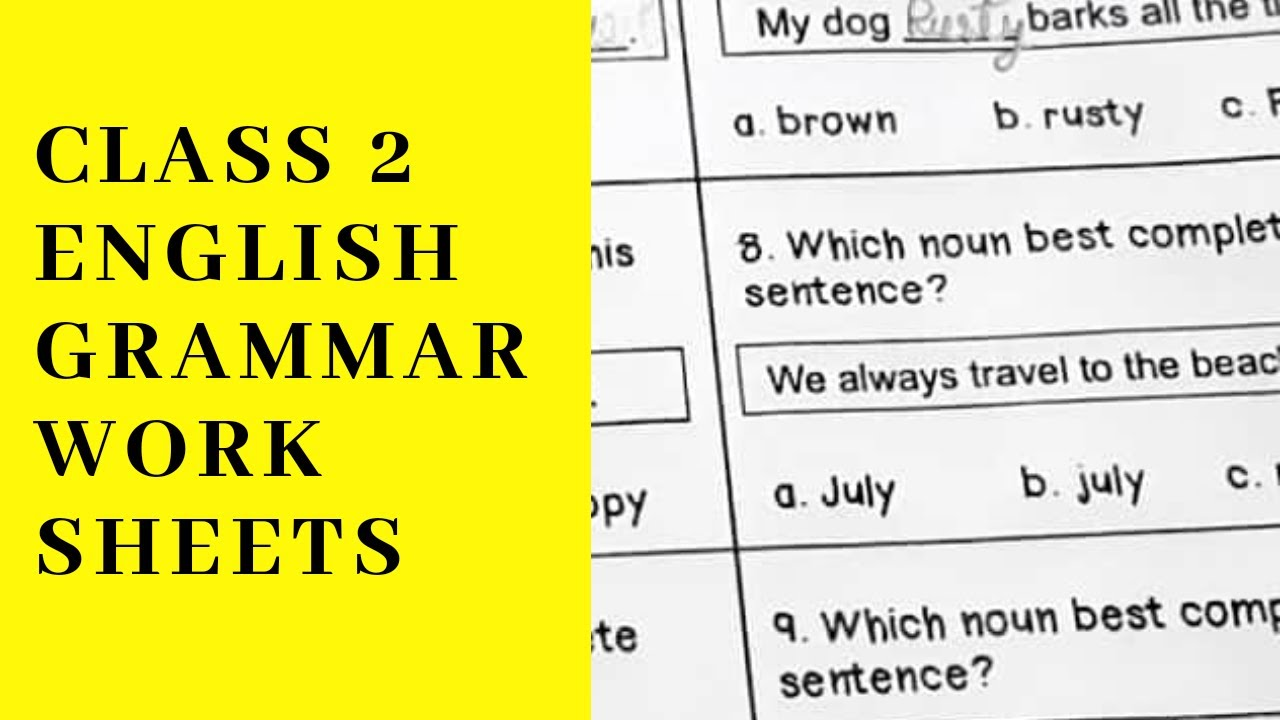 English Grammar Worksheets For Class 2 Youtube