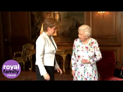 The Queen Jokes About The Weather With First Minister Of Scotland Nicola Sturgeon