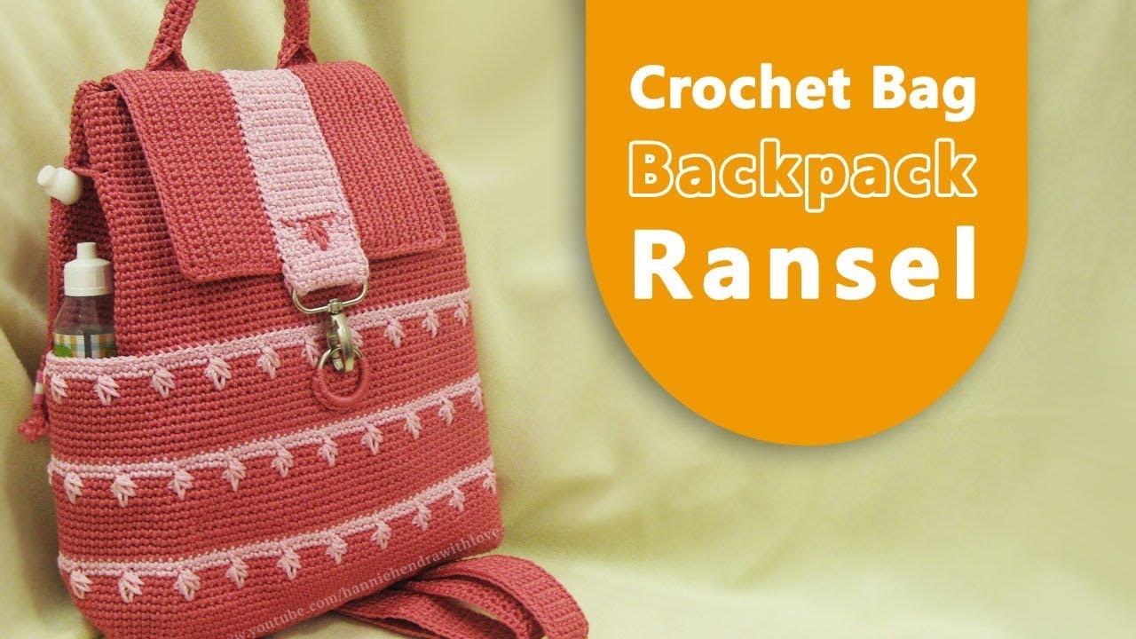 Crochet Tutorial Tas Ransel Backpack Crochet Bag Leaf Spike Stitch
