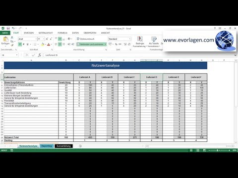 Nutzwertanalyse Excel Vorlage Tutorial Anleitung Youtube
