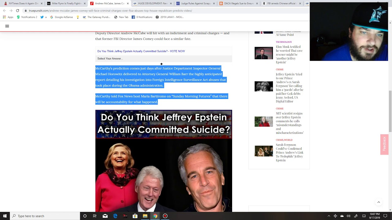 Puppet String News Justice Kavanaugh accuser is a former Clinton Attorney, McCarthy hints Comey/McCa