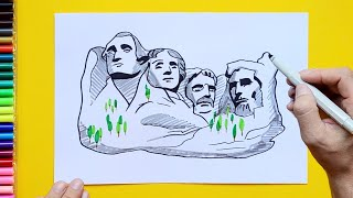 How to draw and color Mount Rushmore, South Dakota, USA