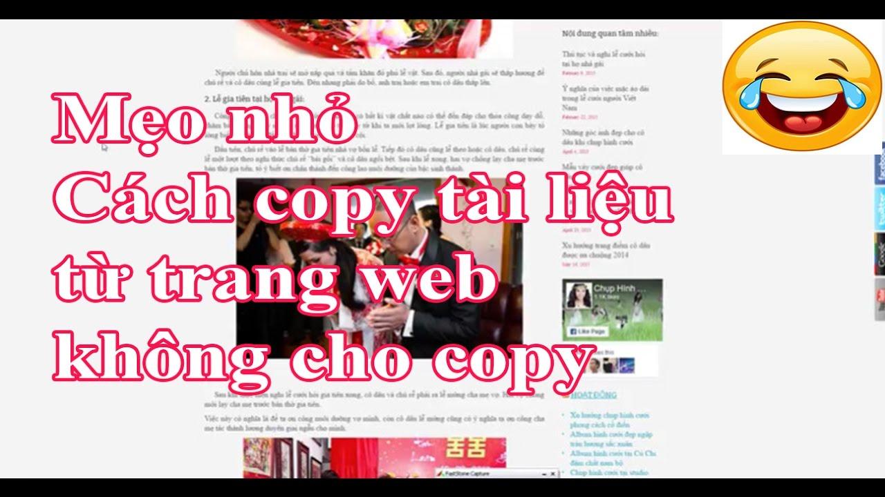 Hướng dẫn copy lấy tài liệu ở những trang web không cho Copy