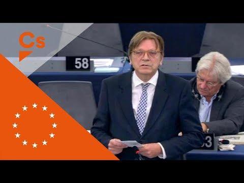 Guy Verhofstadt. Debate en el Europarlamento sobre Cataluña