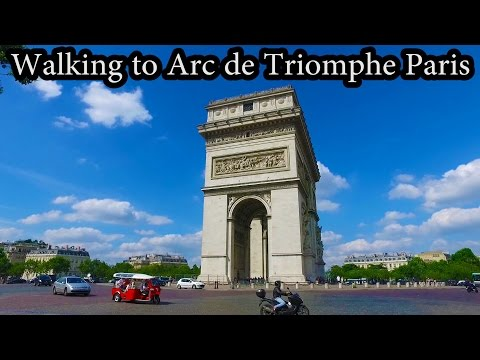 Walking  to Arc de Triomphe, Paris France
