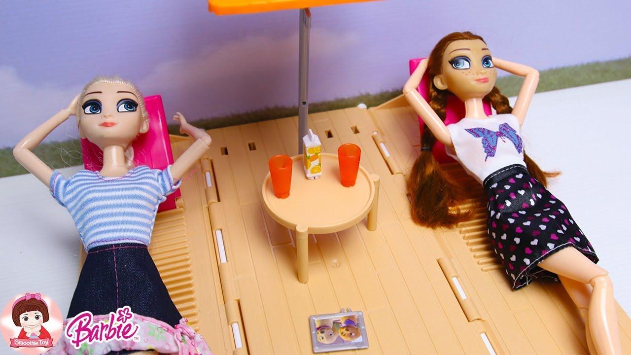 รีวิวบ้านตุ๊กตาบาร์บี้ 2 ชั้นหลังใหญ่มาก ห้องเยอะมาก  แบบจัดเต็ม barbie house toys Review