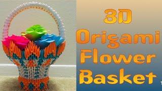 How to make 3D Origami Flower Basket model2