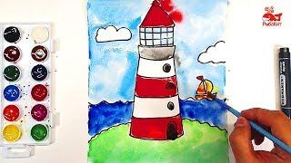 Морской МАЯК Акварелью : урок рисования для детей 5 лет