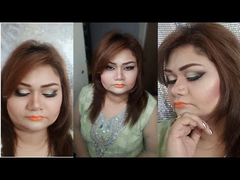 Full Face Makeup Tutorial - Silver Glitter Smokey makeup - nazia khan