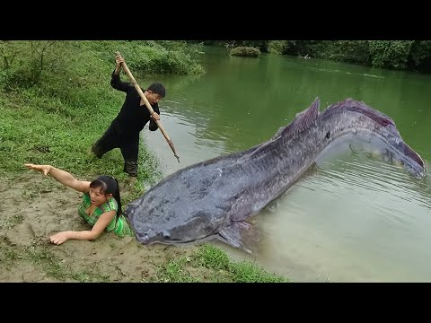 Primitive Technology: Smart Girl Find Catching Fish From Deep Hole - Catch Big Fish For Survival
