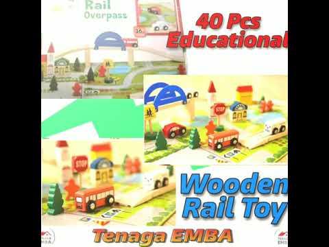 40 Pcs Wooden Railway Car Train Track Kids Toy.