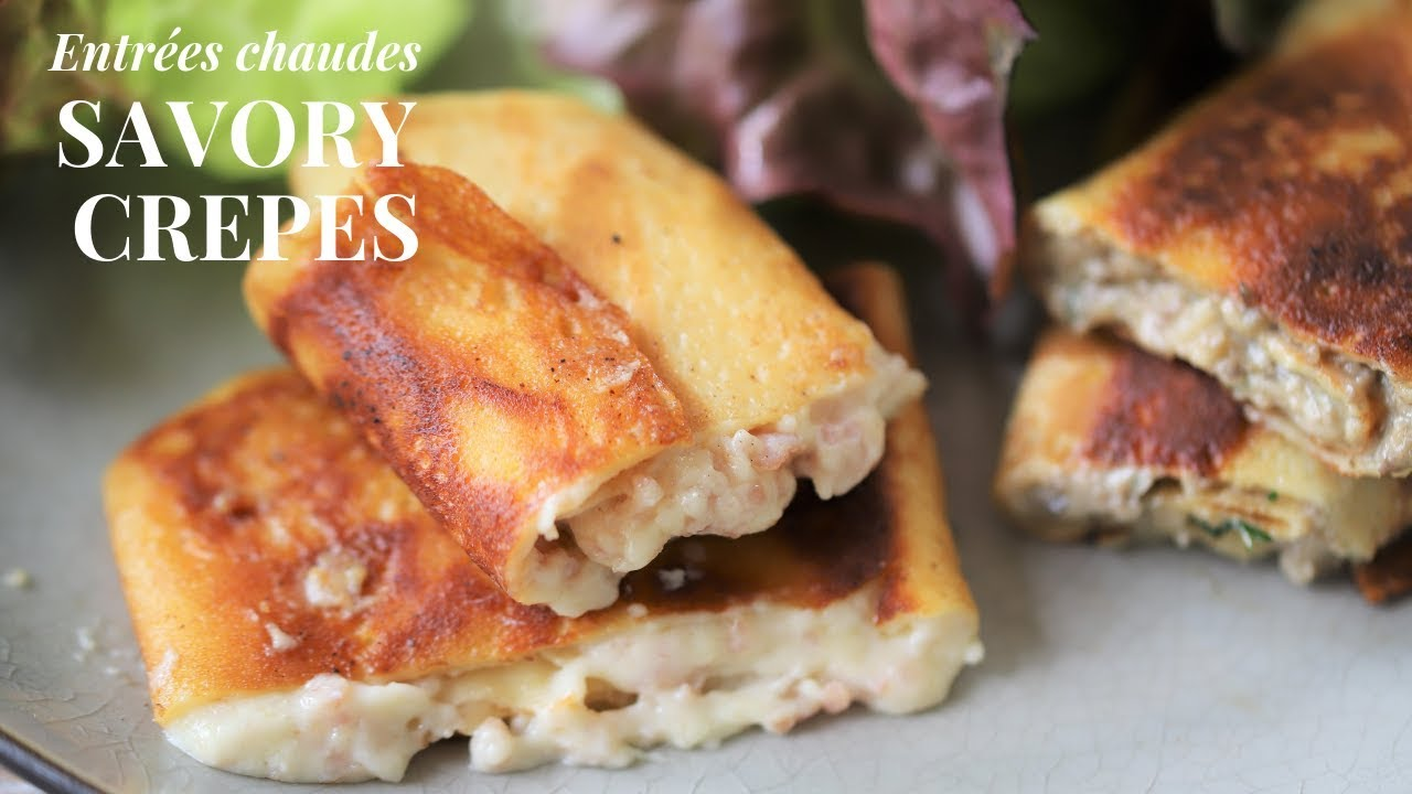 How To Make Creamy Savory French Crepes Like In France Ham Cheese Mushroom Filling Vegetarian Youtube