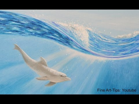 Drawing a Dolphin With Color Pencils - Time Lapse