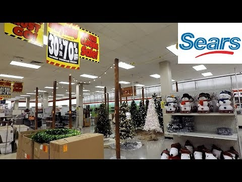 CHRISTMAS 2018 AT SEARS CLOSING GOING OUT OF BUSINESS - CHRISTMAS TREES SHOPPING ORNAMENTS 4K
