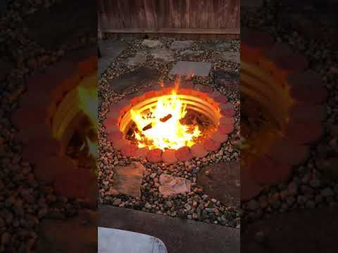 the finished DIY  outdoor fire pit