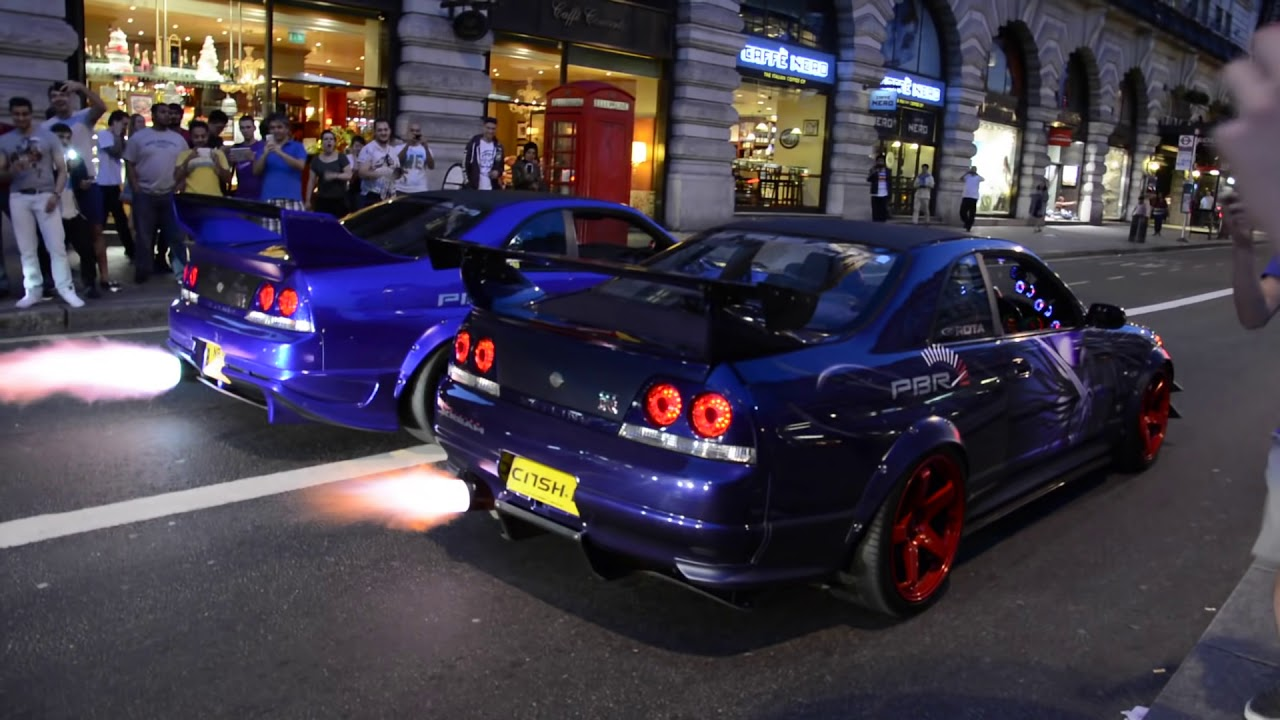 2 Skyline S Spit Flames Gumball 3000 2014 Youtube