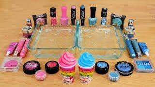 mixing makeup eyeshadow into slime pink vs teal special series part 30 satisfying slime video