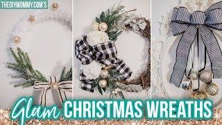 GLAM DIY CHRISTMAS WREATHS | Christmas DIY & Decor Challenge